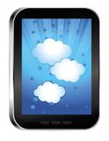 Phone with cloud on touchscreen Stock Photo