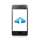 Phone. cloud upload and arrow illustration Stock Photography