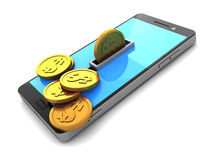 Phone and coins Royalty Free Stock Photos