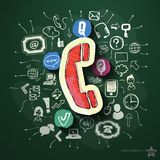 Phone collage with icons on blackboard. Vector illustration Stock Photography