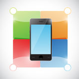 Phone and color blocks ready for customization Royalty Free Stock Images