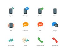 Phone colored icons on white background Stock Image
