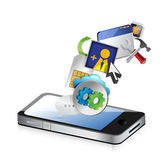 Phone an colorful application icons isolated Royalty Free Stock Photos