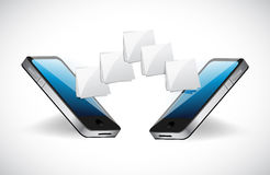 Phone communication file transfer illustration Royalty Free Stock Photography