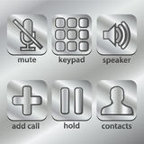 Phone, communication icons on metal steel Button Royalty Free Stock Images