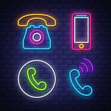 Phone communication neon signs collection royalty free stock image