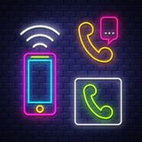 Phone communication neon signs collection stock photos