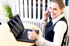 Phone communication - Thumbs up Stock Image
