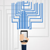 Phone communications. Vector illustration , phone receives and transmits data Stock Image