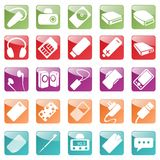 Phone and Computer Accessories Icon Set. Smart devices for computers and mobile phones Stock Photos
