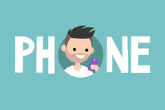 Phone concept sign. Young bearded man is looking at the cell screen Stock Photography
