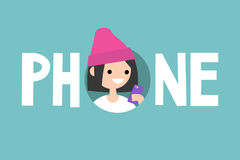 Phone concept sign. Young teenage girl is looking at her phone Royalty Free Stock Photography