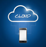 Phone connected to a cloud. illustration design. Over a blue background Stock Image