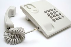 Phone connection. Telephone set against white background Stock Photography