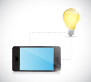 Phone connection. light bulb idea electronic Stock Images