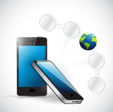Phone and connection link diagram Stock Images