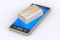 Phone contains archive of files. Cell phone and it is a box of archive files object closeup 3d illustrationi  on white background Stock Photography