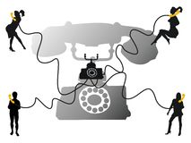 Phone conversation. Abstract illustration with young people shapes talking on the phone Stock Photo