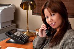 Phone Conversation Stock Photo