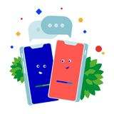 Phone conversation. Two phones talking to each other. stock illustration