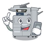 With phone copier machine in the cartoon shape. Vector illustration vector illustration