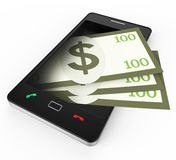 Phone With Copyspace Means World Wide Web And Banking Royalty Free Stock Images
