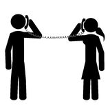 At phone. Couple speaking at the phone. It is a stick figure vector. EPS10 Stock Photo