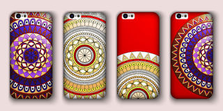 Phone cover collection, boho style pattern. Vector background. Vintage decorative elements. Hand drawn . Islam, arabic, indian, ot Royalty Free Stock Image