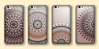 Phone cover collection, boho style pattern. Vector background. Vintage decorative elements. Hand drawn . Islam, arabic, indian, ot Royalty Free Stock Photography