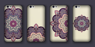 Phone cover collection, boho style pattern. Vector background. Vintage decorative elements. Hand drawn . Islam, arabic, indian, ot Stock Images