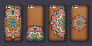 Phone cover collection, boho style pattern. Vector background. Vintage decorative elements. Hand drawn . Islam, arabic, indian, ot Royalty Free Stock Photos