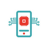 Phone CPU Icon Flat Style Isolated Vector Illustration. Stock Images