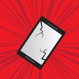 Phone Cracked. With red background royalty free illustration