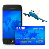 Phone and credit card and airplane Royalty Free Stock Photography