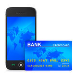 Phone and credit card on white background stock illustration