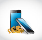 Phone and currency symbols illustration design Royalty Free Stock Photo
