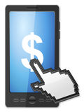 Phone cursor and dollar symbol Royalty Free Stock Image