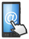 Phone cursor and email symbol Royalty Free Stock Images