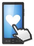 Phone cursor and heart symbol Royalty Free Stock Photo