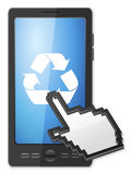 Phone cursor and recycle symbol. Phone, cursor and recycle symbol on a white background Stock Photography