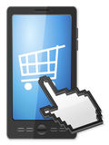 Phone cursor and shopping cart symbol Royalty Free Stock Photo