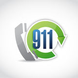911 phone cycle illustration design. Over a white background Royalty Free Stock Photo