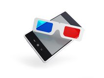Phone 3d glasses Stock Photography