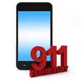 911 Phone. 3d rendering of an mobile phone  with 911 emergency number Stock Image