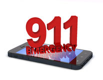 911 Phone. 3d rendering of an mobile phone  with 911 emergency number Stock Images