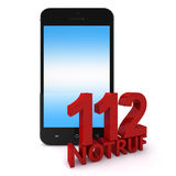 112 Phone. 3d rendering of an mobile phone with 112 Notruf, the emergency number in germany stock illustration
