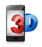 Phone with a 3d screen. Illustration design Stock Image