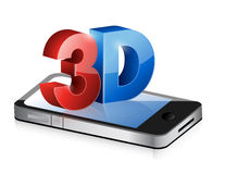 Phone with a 3d screen. Illustration design Stock Photo