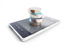 Phone damaged database. On a white background Stock Photography