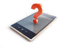 Phone danger to health a question mark 3d illustrations Royalty Free Stock Photography
